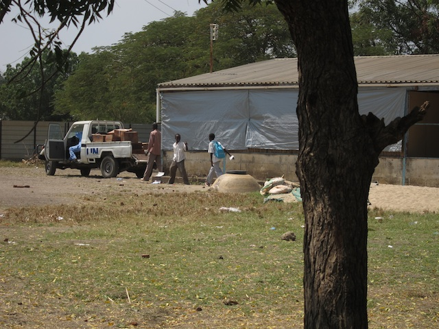 UN Delivery of goods to a neighboring school. It was crazy how many UN workers and trucks were everywhere in this town.